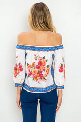 Fashion Off Shoulder Multi-Color Floral Print White Top