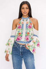 Fashion Cold Shoulder Floral Print Ruffled White Top