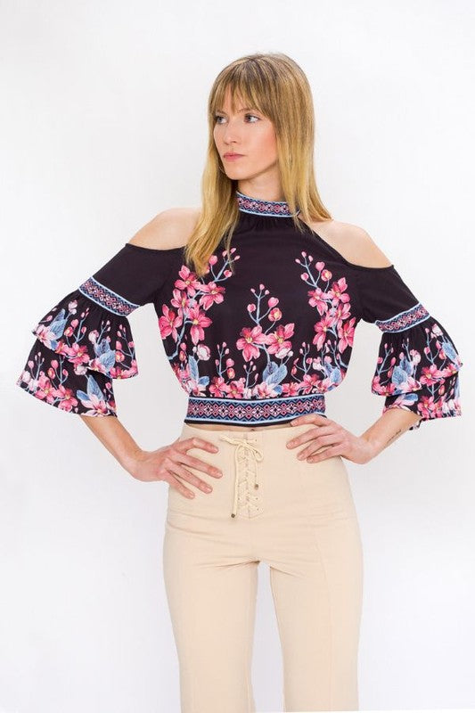 Fashion Cold Shoulder Black Floral Print Top with Bell Sleeve