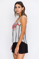 Fashion Strap Red Floral Print Contrast White Top