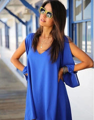 Asymmetrical V neck Blue Dress
