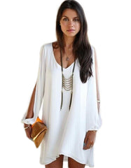 Asymmetrical V neck White Dress