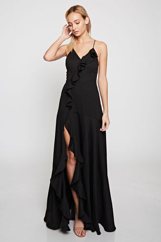 Elegant Strap Ruffle Black Maxi Dress