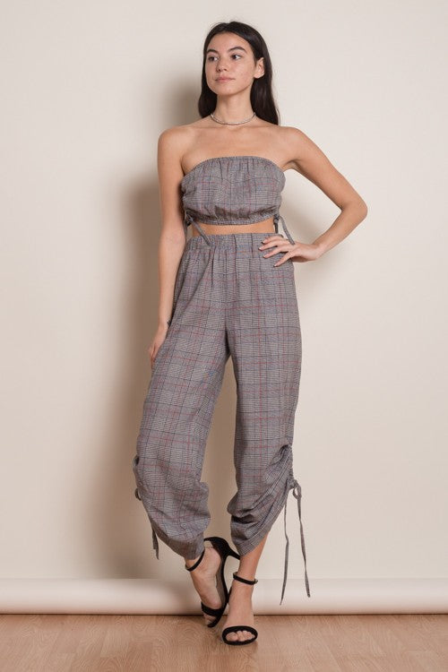 Fashion Grey Checkered Tie-Up Pants