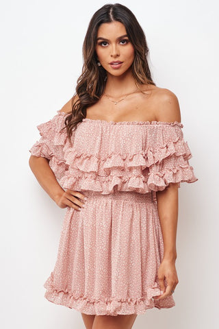 Fashion Pink Floral Print Off Shoulder Ruffle Dress