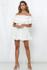 Fashion White Off Shoulder Detailed Textured Ruffle Dress