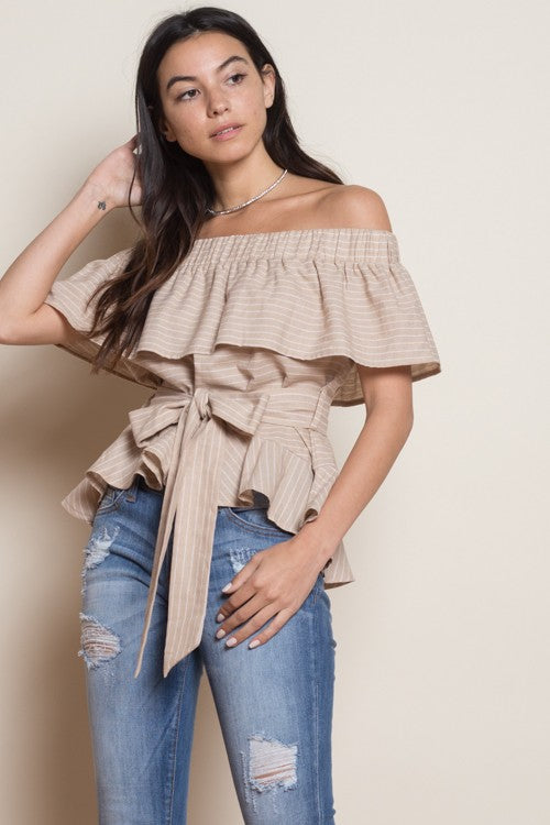 e7bad273ebe5f Fashion Off Shoulder Beige Striped Ruffle Tie-Up Top – EDITE MODE