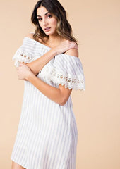 Casual Off Shoulder Light Blue Striped Dress with Lace Detailed