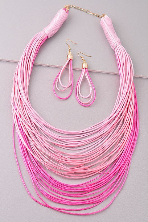 Fashion Layered Pink Shades Necklace Set