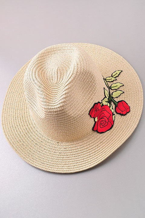 Fashion Summer Straw Hat With Roses Embroideries