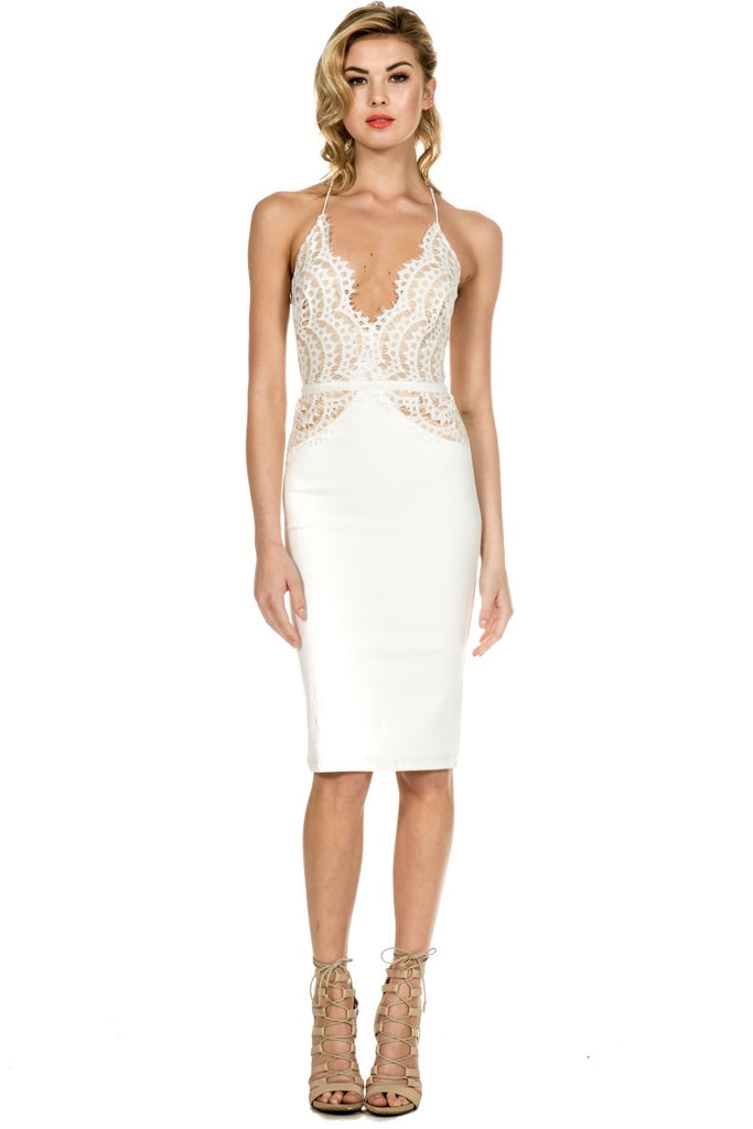 Elegant White Scallop Lace Dress