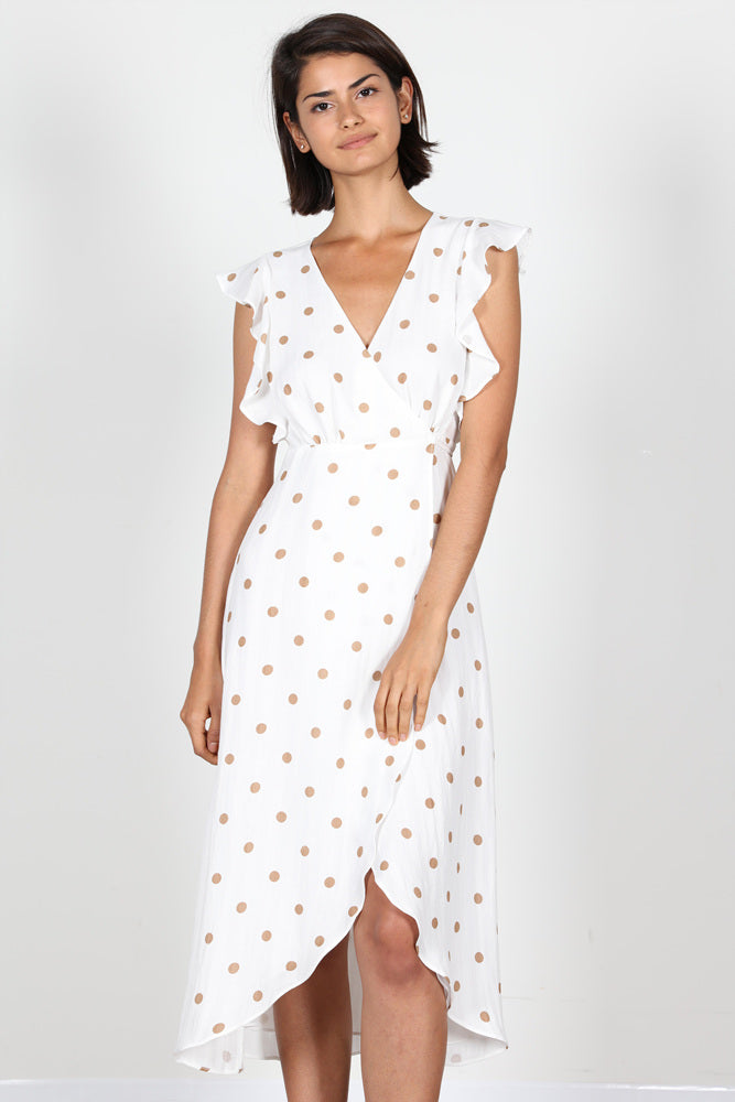 Fashion Beige Polka Dot Ruffle Wrap White Dress
