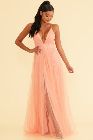 Elegant Apricot Strap Deep V-Neck Maxi Dress