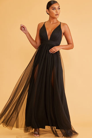 Elegant Black Strap Deep V-Neck Maxi Dress