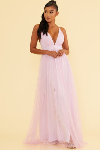 Elegant Lavender Strap Deep V-Neck Maxi Dress