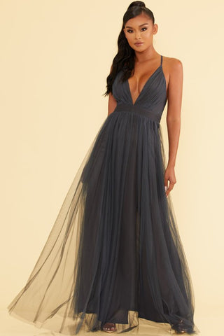 Elegant Steel Strap Deep V-Neck Maxi Dress