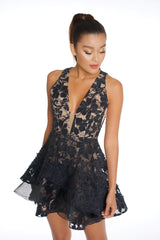 Elegant Black Lace Layered Ruffle Dress