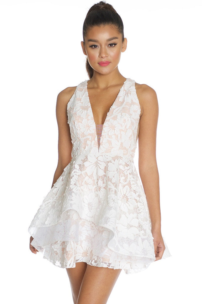 Elegant White Lace Layered Ruffle Dress