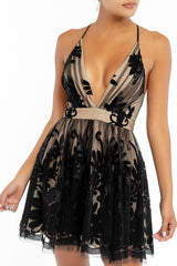 Elegant Black Nude Lace Layered Strap Deep V-Neck Ruffle Dress
