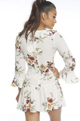 Fashion Floral Print Ruffle White Dress