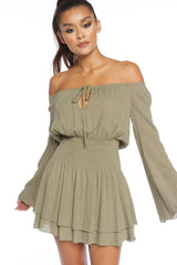 Fashion Off Shoulder Olive Gold Striped Dress
