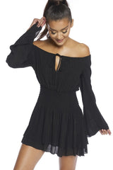 Fashion Off Shoulder Black Gold Striped Dress