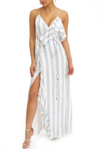 Fashion Strap Ruffle Blue Marine Wrap Maxi Dress