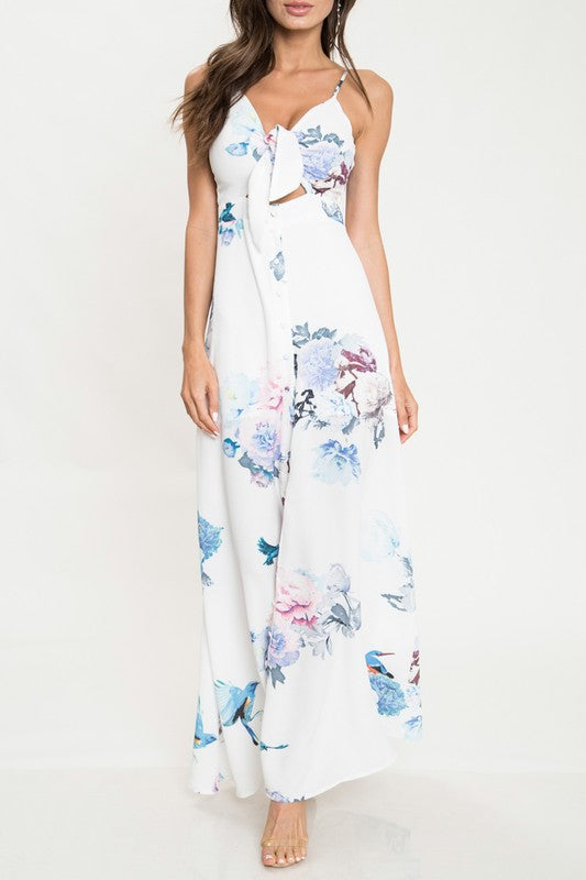 Elegant White Floral Print Cut Out Tie-Up Maxi Dress with Slit
