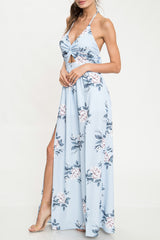 Elegant Blue Floral Print Cut Out Tie-Up Maxi Dress with Slit