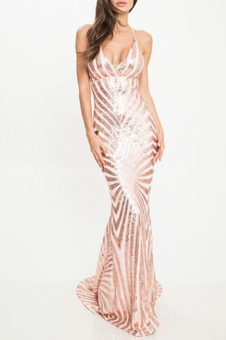 Elegant Cocktail Open Back Sequence Rose Gold Gown