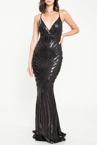 Elegant Cocktail Open Back Sequence Black Gown