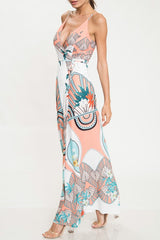 Elegant Summer Multi-Color Floral Print Wrap Maxi Dress