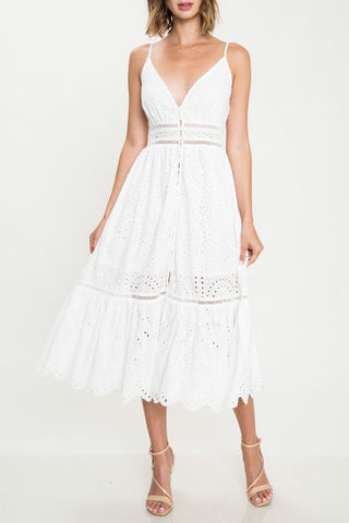 Elegant Summer White Floral Lace Strap Button Down Dress