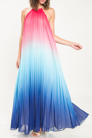 Fashion Pink Blue Halter Open Back Watercolor Maxi Dress