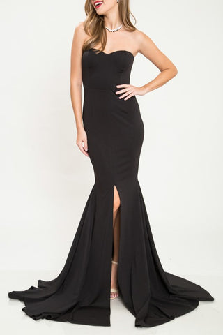 Elegant Strapless Black Gown with Middle Slit