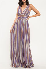 Fashion Purple Stripe Lurex V-Neck Maxi Dress