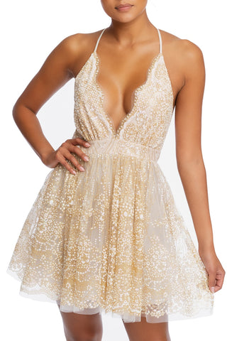 Elegant Ivory Multi-Color Floral Glitter Strap Deep V-Neck Dress