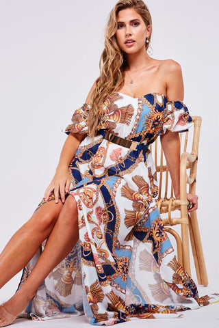 Elegant Off Shoulder White Detailed Multi-Color Print Maxi Dress with Slit