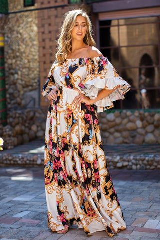 Fashion Off Shoulder Ivory Multi-Color Floral Print Ruffle Maxi Dress