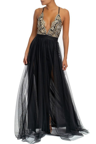 Elegant Black Multi-Color Floral Glitter Strap Deep V-Neck Maxi Dress