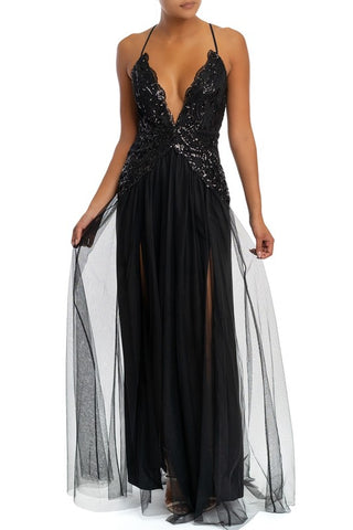 Elegant Fashion Black Sequence Strap Deep V-Neck Maxi Dress