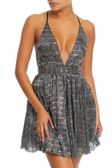 Elegant Black Silver Textured Detailed Strap Deep V-Neck Dress
