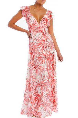 Elegant Light Red Leaf Print Wrap Ruffle Strap Maxi Dress