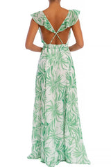 Elegant Light Green Leaf Print Wrap Ruffle Strap Maxi Dress