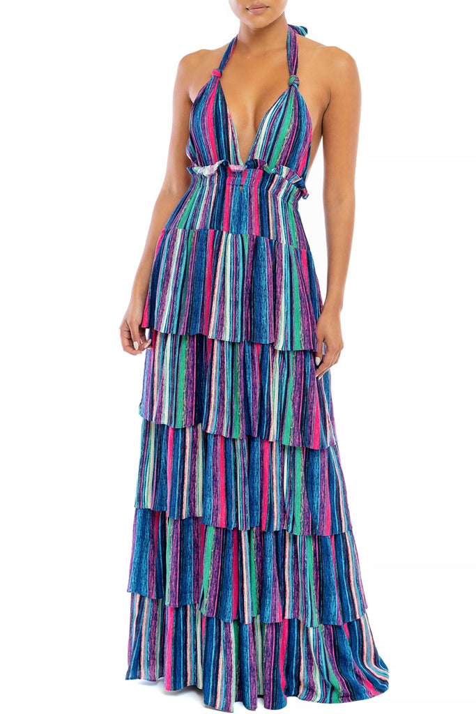 Fashion Blue Multi-Color Marine Ruffle Halter V-Neck Maxi Dress