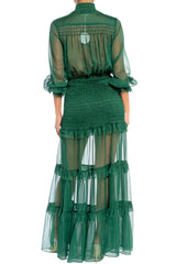 Elegant Hunter Green Button Down Elastic Ruffle Maxi Dress with Long Sleeve