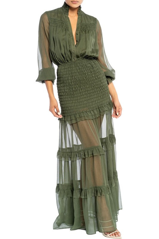 Elegant Olive Green Button Down Elastic Ruffle Maxi Dress with Long Sleeve