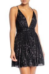 Elegant Black Sequence Strap Deep V-Neck Dress