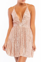 Elegant Rose Gold Sequence Strap Deep V-Neck Dress