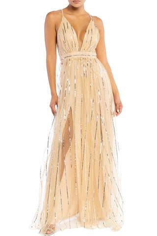 Elegant Nude Silver Sequence Glitter Strap Deep V-Neck Gown